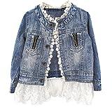 ESHOO Chicas Denim abrigo chaqueta Outwear cordón inferior vaquero ropa 2-7 años