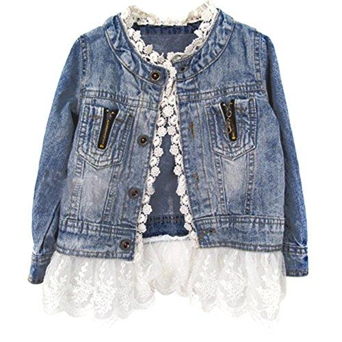 ESHOO Mädchen Kinder Denim Jean Mantel Jacke Outwear Tops Lace Bottom 2-7 Jahre