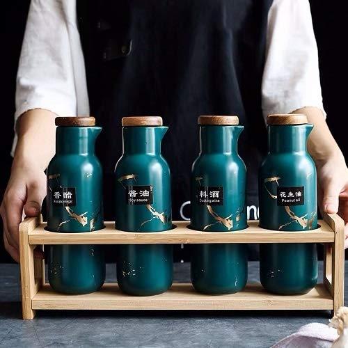 Botes de almacenamiento, Cocina condimento tanque Conjunto de madera creativo cubierta nórdica Mármol Estilo Patrón de cerámica tarro de especias salero Accesorios cocina (Color : Green 4pcs L)