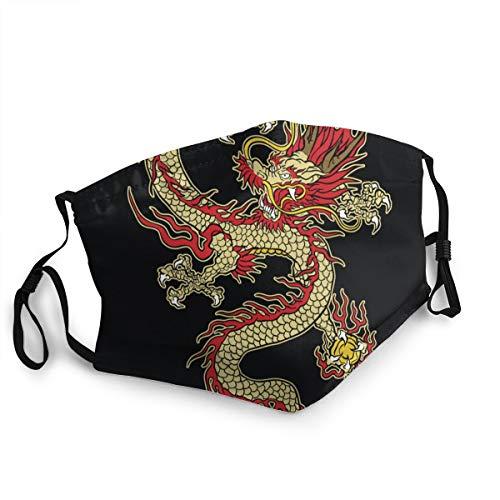 Copertura del fronte,Disegno asiatico del drago del tatuaggio a colori,Filtro antirumore regolabile per bocca antipolvere