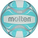 Molten BV1500-LB - Pelota de Volley Playa (Talla 5), Color Blanco, Azul y Plateado
