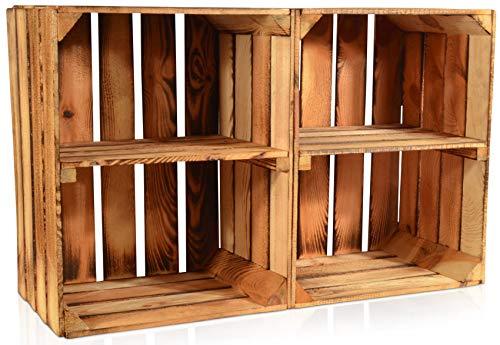 CHICCIE 2 Set Geflammte Obstkisten - Kurze Ablage Holzkisten Weinkisten Holz Kisten Apfelkisten Obstkiste Gebrannt 50 x 40 x 30cm