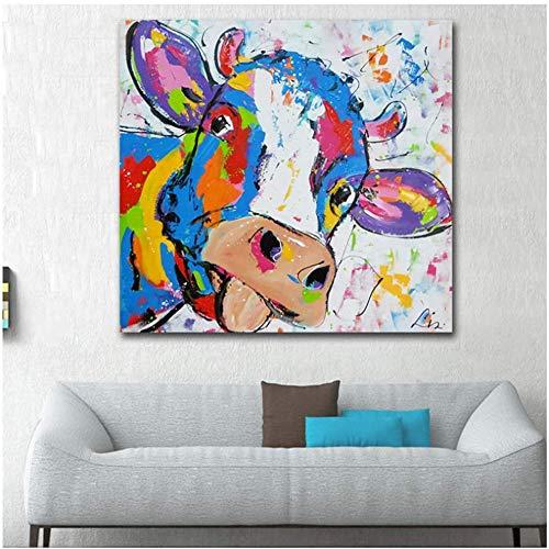 Surfilter Druck auf Leinwand Cartoon Kuh Malerei Abstrakte Wandkunst Pop Poster Druck für Wohnzimmer Wanddekoration Bild 19.6& rdquo; x19.6ABC 22 rdquo; (50x50cm) Kein Rahmen 1