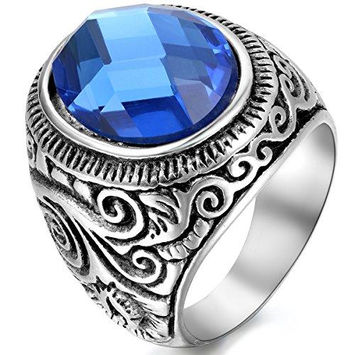 JewelryWe Schmuck Herren-Ring, Klassiker Retro Charm Schnitzerei, Edelstahl Glas, Blau Silber - Größe 76