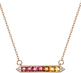 18K Rose Gold Plated Bar Rainbow Color Birthstone Ruby Fancy Colored Sapphire Necklace Pendant 16-18