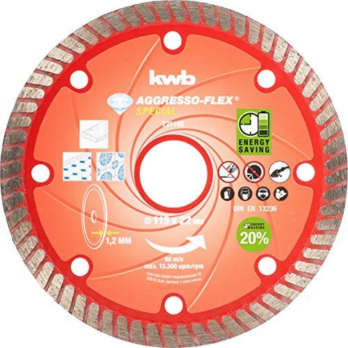 kwb AKKU-TOP Diamant-Trennscheibe Aggresso-Flex - 115 mm x 1,2 mm, für Winkelschleifer und Trennschleifer, 22 mm Bohrungs-Durchmesser