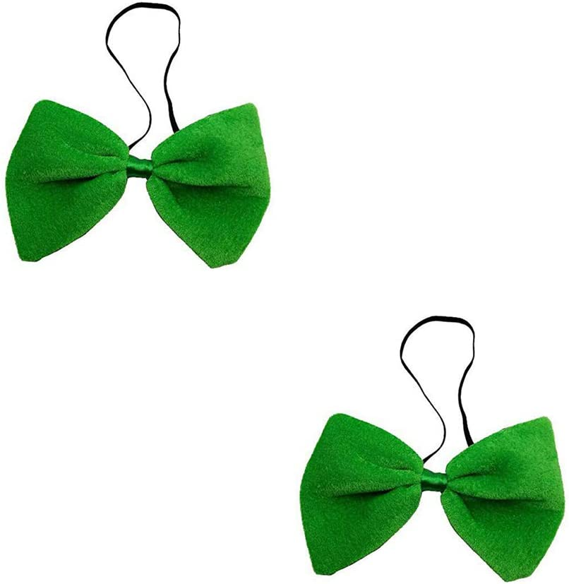 3Pcs Men and Women's Fashion Bowtie Adjustable Pre-Tied Bow Tie for St. Patrick's Day (Green)