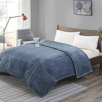 Degrees Of Comfort [Advanced] Microplush Electric Blanket with Auto Shut Off | Heating Blankets for Bed & Living Room | Machine Washable | UL Certified and EMF Radiation Safe - Twin Blue