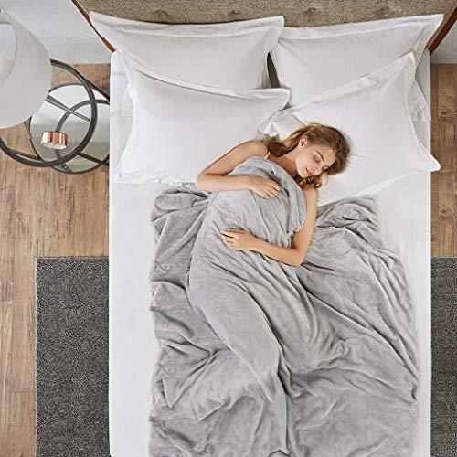Gewichtsdecke für Erwachsene Therapiedecke Schafdecke Schwer Weighted Blanket Schwere Decke mit abnehmbaren Warm Fleece & Coolmax Bezüge, 150x200cm, 6.8kg