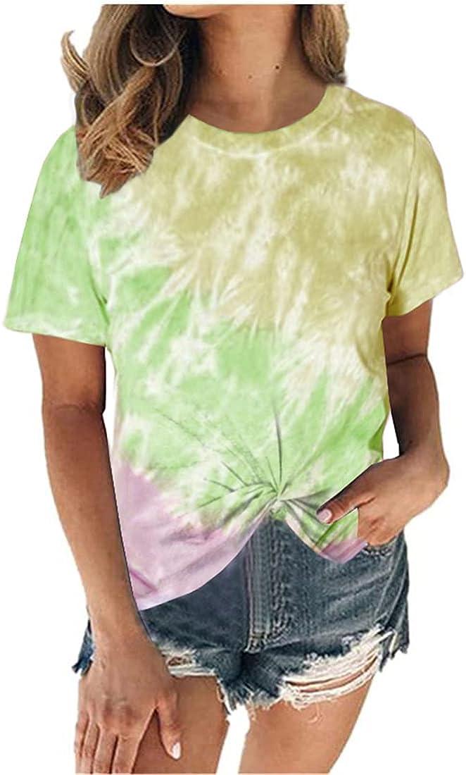 FRMUIC Summer Women's Shirt Round Neck Tie Dye Gradient Printed T Shirt Loose T Shirt Casual Fashion Top
