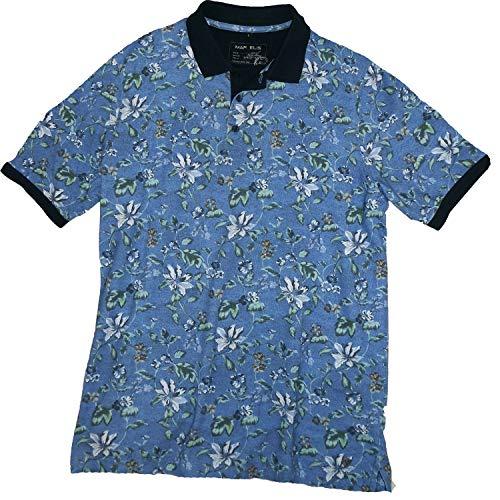 Marvelis Poloshirt Pique Halbarm Florales Muster blau Kragen dunkelblau Reine Baumwolle, Größe:XXL