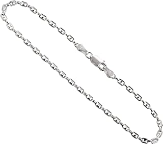 Sterling Silver Puffed Anchor Chain Necklaces & Bracelets 2.4mm Nickel Free Italy, Sizes 7-30 inch