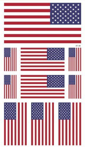 Supperb American Flag Temporary Tattoo Kit, USA Flag Temporary Tattoos 4th of July (10 flags) - Set...