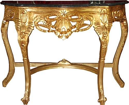 Casa Padrino Barock Konsolen Tisch Gold/Schwarz mit Marmorplatte - Konsole