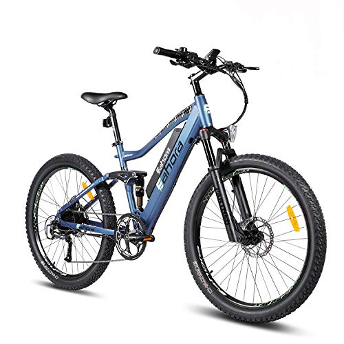 Eahora AM100 Electric Mountain Bike, 27.5 inch Electric Bicycle 350W 48V EBike with Hidden Removable 48V 10.4AH Lithium Battery with E-PAS 9 Speed Shifter
