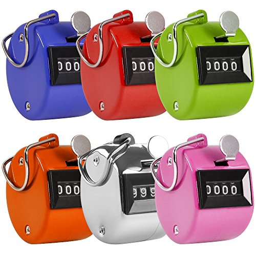 AFUNTA Contador Manual de 4 Digitos, 6 Colores Mecánico Clicker de la Palma Contador -Colores Variados Handheld Tally Counter, Ideal para Contar/Golf/Eventos/Deporte/Entrenador/Escuela