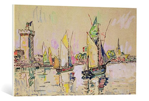 Leinwandbild: Paul Signac Sailing Boats at Les Sables-d Olonne - hochwertiger Kunst-Druck, Leinwand Auf Keilrahmen, Bild fertig zum Aufhängen, 90x55 cm