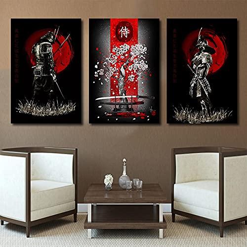 Lienzo Pintura Arte de la pared Espada samurái japonesa Flores de cerezo Carteles Fondo de cabecera moderno para la decoración del hogar de la habitación 30x45cm-3Pcs Sin marco