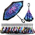 Spar. Saa Double Layer Inverted Umbrella with C-Shaped Handle, Anti-UV Waterproof Windproof Straight Umbrella for Car Rain Outdoor Use (Dahlias Flower)