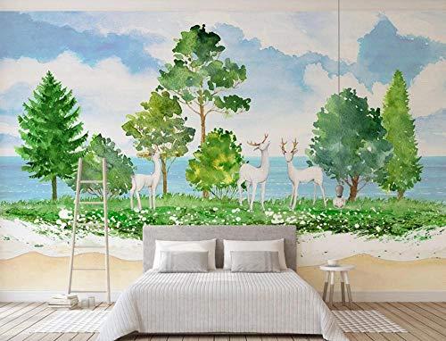Papel Pintado Pared 3D Alces En Bosques Verdes Fotomurales Decorativos Pared Decoración Mural Pared