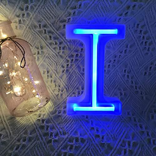 QiaoFei - Lettere Luminose con luci al Neon, Decorazione da Parete/Tavolo per casa, Bar, Natale, Festa di Compleanno, San Valentino, Parole Blu Blu I
