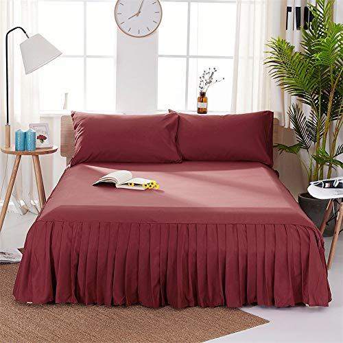CQZM Modern Einfach Bettvolant Babybett Mit Rüschen Staubdicht Bettrock Tagesdecke Single Double Bed Skirt Schlafzimmer Queen Kingsize Bett Röcke Grau WeißH-200x220cm(79x87inch)