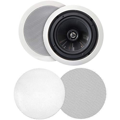 """BIC America MSRPRO6 125-Watt 6.5"""" Weather-Resistant in-Ceiling Speakers with Pivoting Tweeters & Metal & Cloth Grilles"""