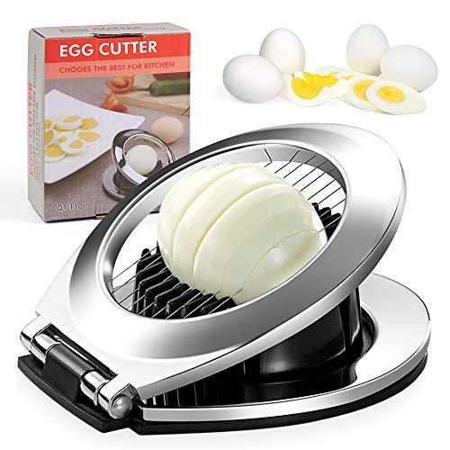 Eierschneider aus Edelstahl, Eischneidewerkzeug, Eierschneider Edelstahl Spülmaschinenfest, Eierschneider mit 2-in-1 für Gekochten Eiern, Erdbeeren, Pilzen, Salaten(Spülmaschinenfest)