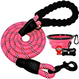 BARKBAY Dog leashes for Large Dogs Rope Leash Heavy Duty Dog Leash with Comfortable Padded Handle and Highly Reflective Threads 5 FT for Small Medium Large Dogs(Pink)