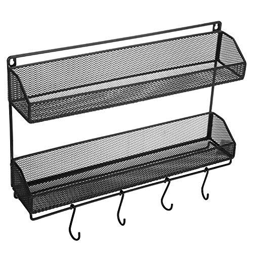 VEEYOO Organizador de especias – Soporte de encimera de 2 niveles o estante de almacenamiento montado en la pared estante para colgar para gabinete de cocina 16x3.5