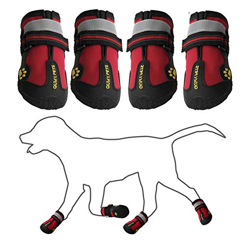 "QUMY Dog Shoes for Medium Large Breed Dogs Boots Rugged Non Slip with Reflective Tape Pet Booties (Size 6: 3.0""x2.6""(LW) for 52-65 lbs, Red-Upgrade)"