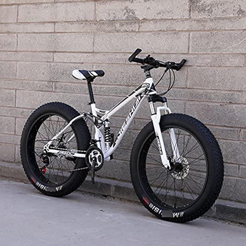 MLHH Bicicletas de montaña Ciclismo Cross Country Off-Road Bicicleta de Velocidad Variable MTB Road Fat Tire Bicicletas de Trail para Hombres y Mujeres 24 velocidades 24 Pulgadas Blanco Negro