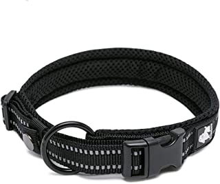 Adrance True Love Dog Collar with Reflective Material Comfort Padded Mesh, Heavy Duty Nylon Dog Training Collar for Small, Medium, and Large Breed Dogs Puppy and Pets