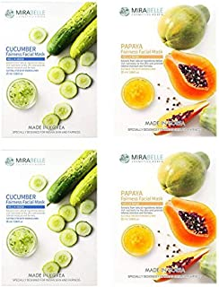 MIRABELLE COSMETICS KOREA Fairness Facial Mask BERRIES PAPAYA AND CUCUMBER PACK OF 3 MADE IN KOREA SUITABLE FOR ALL SKIN TYPE