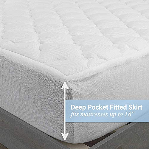Bamboo Extra Thick Mattress Pad with Fitted Skirt - Extra Plush Cooling Topper - Hypoallergenic - Proudly Made in The USA (Queen)