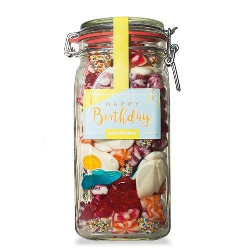 Happy Birthday Fruchtgummis von Naschlabor – Dein Mitgebsel zum Geburtstagegeschenk in der praktischen Vorratsdose