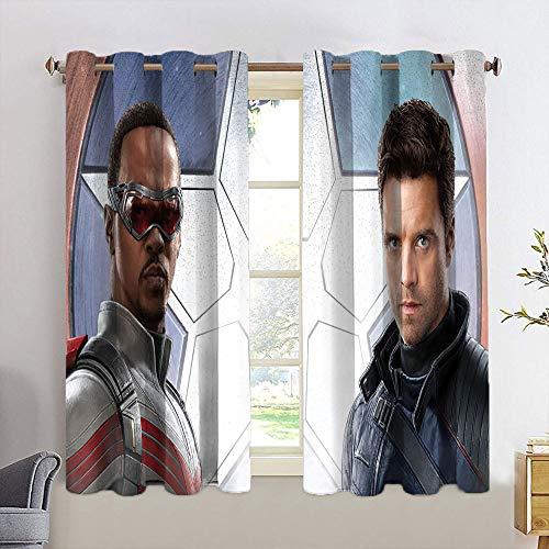 Cortinas con diseño de Falcon y el soldado de invierno para niñas, cortinas opacas con ojales para ventana, 55 x 45 cm
