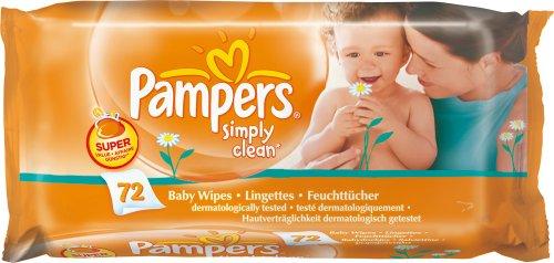 Pampers Feuchte Tücher Simply Clean, 6er Pack (6 x 72 Stück)