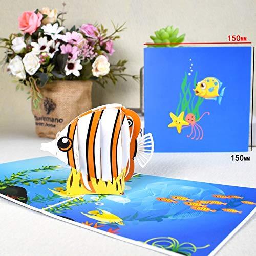 GiIiv 3D niedlichen Tier Pop-up-Karte Alles Gute zum Geburtstag Karte for Kinder, Frau Mann Cartoon Pfau weiblichen Hund Käfig Fisch (Color : Cute Fish)