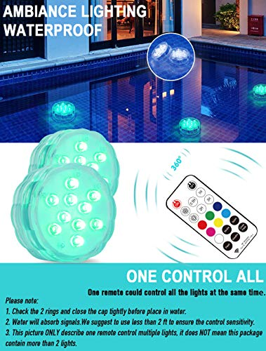 "Qoolife Magnetic Submersible LED Lights - 3.3"" Hot Tub Lights (2-Pack)"