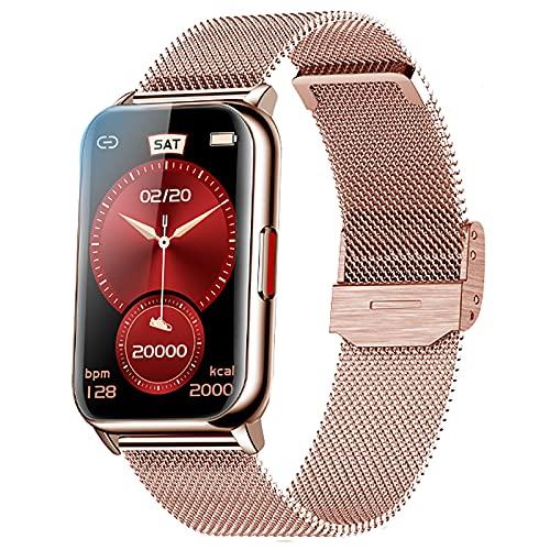 ZODVBOZ Smartwatch Relógio Inteligente Mulher Desportivo,IP68 à Prova d'água,Rastreador de Atividades com Monitor de Frequência Cardíaca,Tela Sensível ao Toque,Pulseira de Malha Women Smartwatch,para iOS,Android,Rosa Ouro
