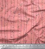 Soimoi Rosa Baumwolljersey Stoff trocken Baum gedruckt