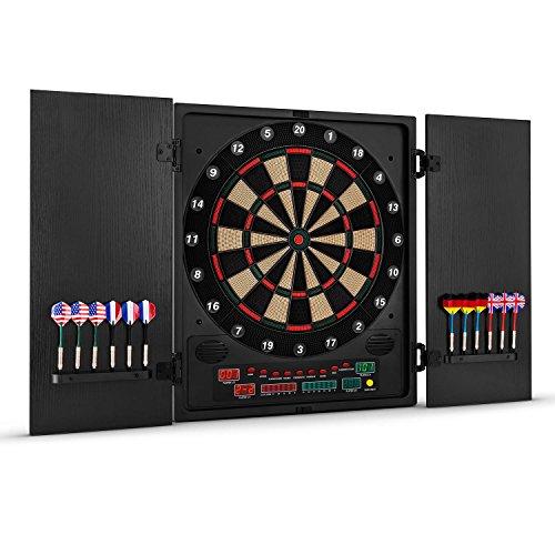 OneConcept Dartmaster 180 Dartautomat elektronische Dartscheibe E-Darts (Spielcomputer, bis zu 8 Spieler, virtueller Gegner, LED-Anzeigen, 12 Pfeile) schwarz mit Muster
