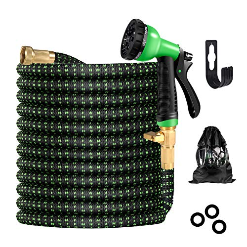BIIBeSeamu 50FT Garden Hose Expandable Hose, Flexible Water Hose with Spray Nozzle, Car Wash Hose with Solid Brass Connector, Leakproof Lightweight Expanding Pipe for Watering and Washing