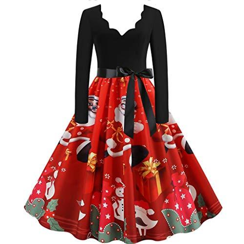 PinkLu Damen Abendkleid Vintage V-Ausschnitt Partykleid Hepburn Weihnachtskostüm Sexy Lange Kleider Schleife Elegant Festkleid Gürtel Langarm Cocktailkleid Geschenkdruck Freizeitkleid Mode Ballkleid