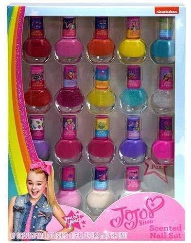 Jojo Siwa Colorful Fruity Scented Peelable Nail Art Set, 18pcs for Kids Girls Birthday Gifts Goodies