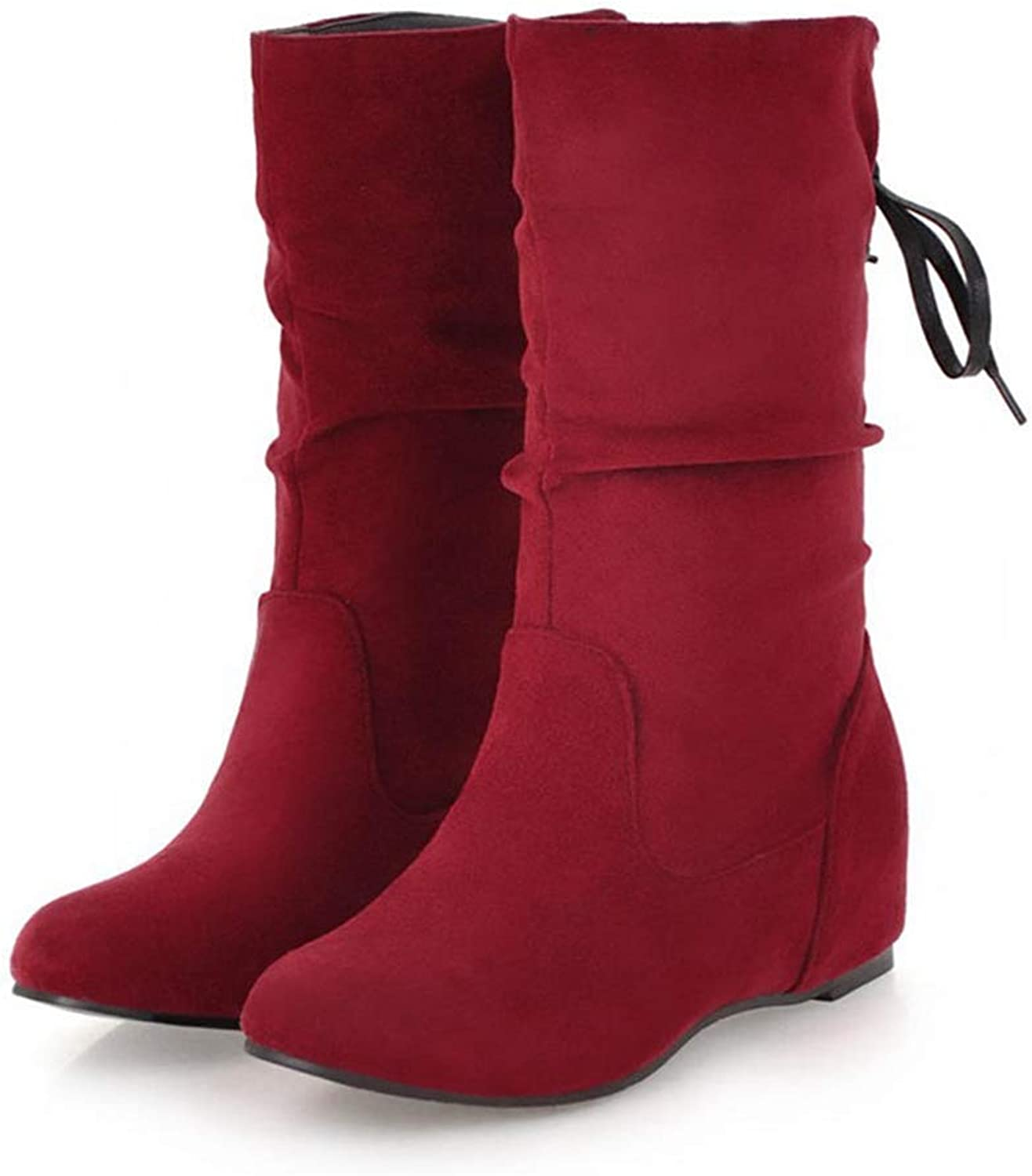 Gcanwea Fashion Plus Size Slip On Solid Add Fur Winter Boots shoes Woman Mid Calf Boots Woman shoes Female shoes Pure color Dress Skinny Warm Girls Elegant Joker Brown 4.5 M US Boots