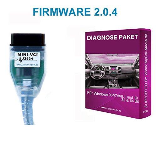 MyCor-Media Diagnose Interface für Toyota OBD2 Kabel, Mini VCI J2534, OBD Scanner Yaris V 2.0.4