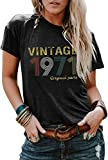 50th Birthday T Shirt for Women Vintage 1971 Original Parts T-Shirt Tops Retro 71s Tees Shirts (Gray-T, XXL)