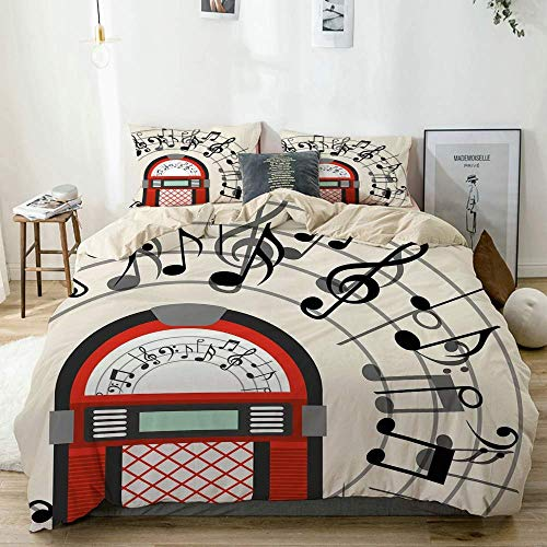 Jojun Duvet Cover Set Beige,Cartoon Antique Old Vintage Radio Music Box Party with Notes Artwork,Decorative 3 Piece Bedding Set with 2 Pillow Shams Easy Care Anti-Allergic Soft Smooth